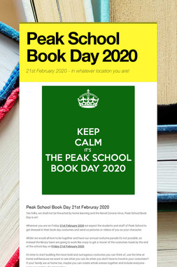 Peak School Book Day 2020