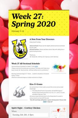 Week 27: Spring 2020