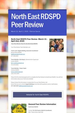 North East RDSPD Peer Review
