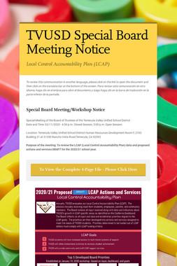 TVUSD Special Board Meeting Notice