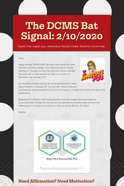 The DCMS Bat Signal: 2/10/2020