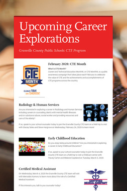 Upcoming Career Explorations