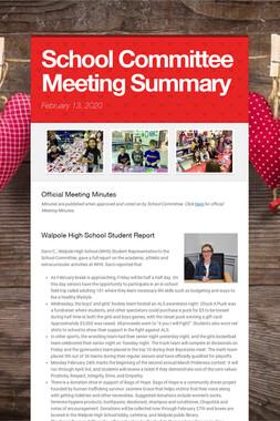 School Committee Meeting Summary