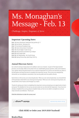 Ms. Monaghan's Message - Feb. 13