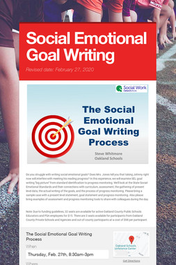 Social Emotional Goal Writing