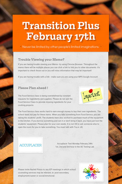 Transition Plus  February 17th