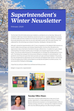 Superintendent's Winter Newsletter