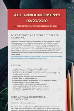 ADL Announcements 02/20/2020
