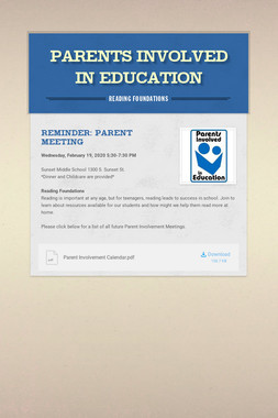 Parents Involved in Education