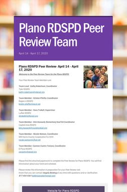 Plano RDSPD Peer Review Team