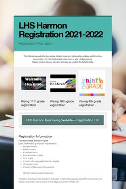 LHS Harmon Registration 2021-2022