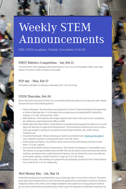 Weekly STEM Announcements