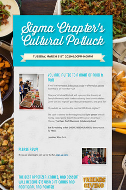 Sigma Chapter's Cultural Potluck