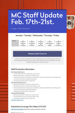 MC Staff Update Feb. 17th-21st.