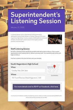 Superintendent's Listening Session