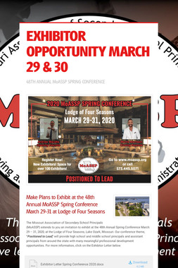 EXHIBITOR OPPORTUNITY MARCH 29 & 30