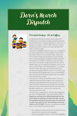 Dorn's March Dispatch