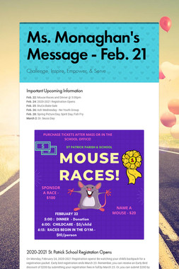 Ms. Monaghan's Message - Feb. 21