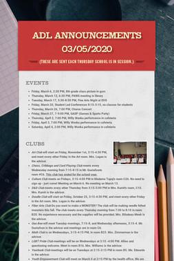 ADL Announcements 03/05/2020