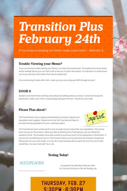 Transition Plus  February 24th