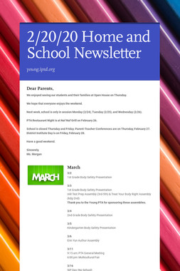 2/20/20 Home and School Newsletter