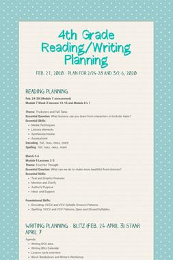 4th Grade Reading/Writing Planning