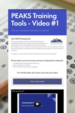 PEAKS Training Tools - Video #1