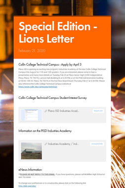Special Edition - Lions Letter