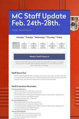 MC Staff Update Feb. 24th-28th.