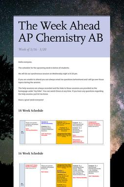 The Week Ahead AP Chemistry AB