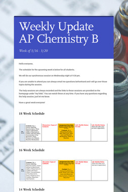 Weekly Update AP Chemistry B