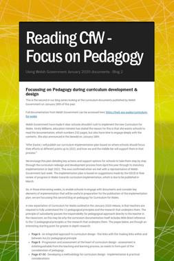 Reading CfW - Focus on Pedagogy