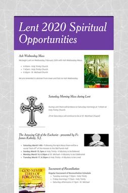 Lent 2020 Spiritual Opportunities