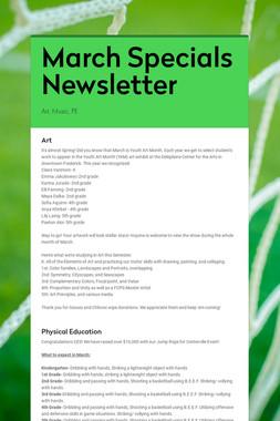 March Specials Newsletter