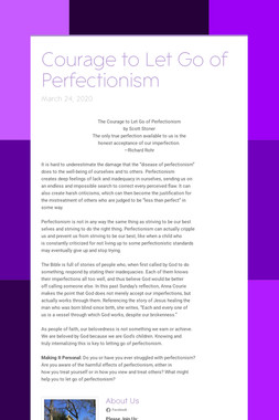 Courage to Let Go of Perfectionism