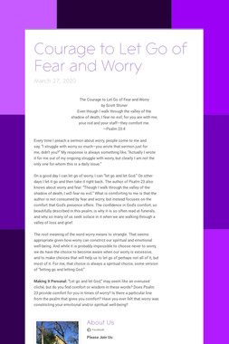 Courage to Let Go of Fear and Worry
