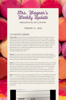Mrs. Wagner's Weekly Update