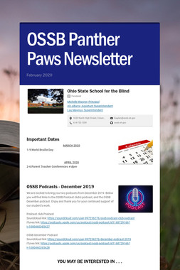 OSSB Panther Paws Newsletter