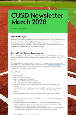 CUSD Newsletter  March 2020
