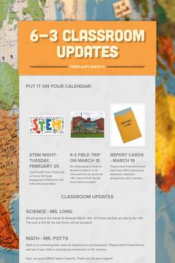 6-3 Classroom Updates