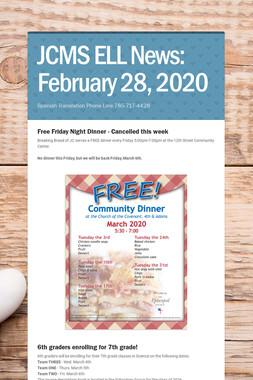 JCMS ELL News: February 28, 2020