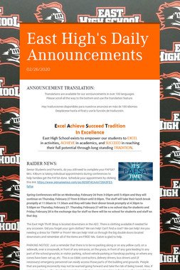 East High's Daily Announcements