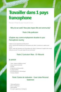 Travailler dans 1 pays francophone