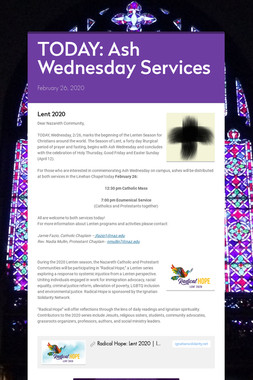 TODAY: Ash Wednesday Services