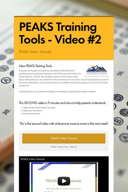 PEAKS Training Tools - Video #2