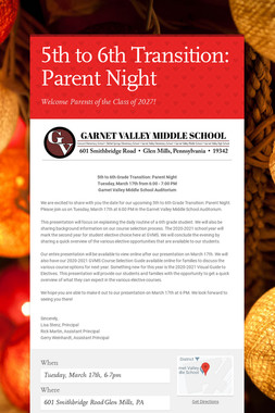 5th to 6th Transition: Parent Night