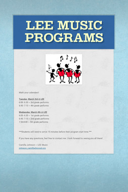 LEE Music Programs