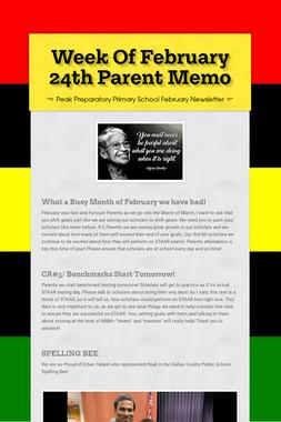Week Of February 24th Parent Memo