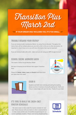 Transition Plus  March 2nd
