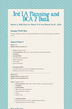 3rd LA Planning and DCA 2 Data